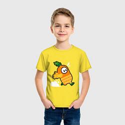 Футболка хлопковая детская Fall guys Ананас цвета желтый — фото 2