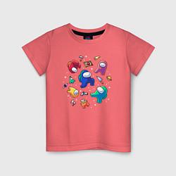 Детская хлопковая футболка с принтом Among Us, цвет: коралловый, артикул: 10274596300014 — фото 1