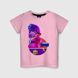 Футболка хлопковая детская Brawl Stars Генерал Гавс цвета светло-розовый — фото 1