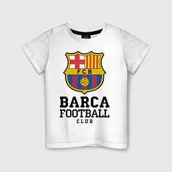 Футболка хлопковая детская Barcelona Football Club цвета белый — фото 1