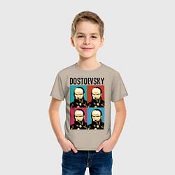 Футболка хлопковая детская Dostoevsky цвета миндальный — фото 2