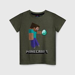 Футболка хлопковая детская Minecraft Rock цвета меланж-хаки — фото 1