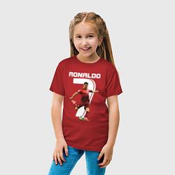 Футболка хлопковая детская Ronaldo 07 цвета красный — фото 2