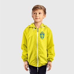Ветровка с капюшоном детская Сборная Швеции: Домашняя ЧМ-2018 цвета 3D-белый — фото 2