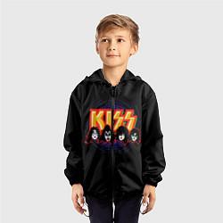 Ветровка с капюшоном детская KISS: Death Faces цвета 3D-черный — фото 2