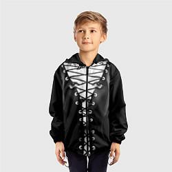 Ветровка с капюшоном детская Шнуровка цвета 3D-черный — фото 2