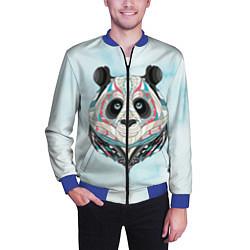 Бомбер мужской Расписная голова панды цвета 3D-синий — фото 2