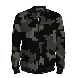Бомбер мужской Камуфляж пиксельный: черный/серый цвета 3D-черный — фото 1