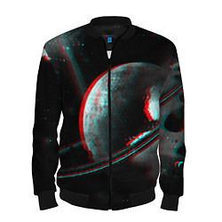 Бомбер мужской Cosmos Glitch цвета 3D-черный — фото 1