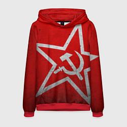 Толстовка-худи мужская Флаг СССР: Серп и Молот цвета 3D-красный — фото 1