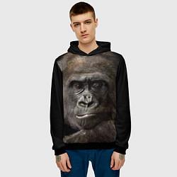 Толстовка-худи мужская Глаза гориллы цвета 3D-черный — фото 2