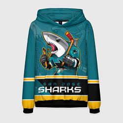 Толстовка-худи мужская San Jose Sharks цвета 3D-черный — фото 1