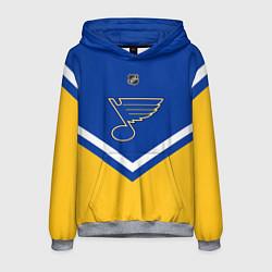 Толстовка-худи мужская NHL: St. Louis Blues цвета 3D-меланж — фото 1