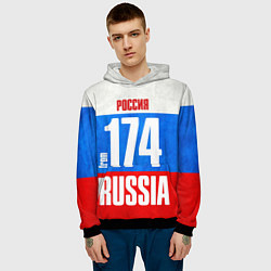 Толстовка-худи мужская Russia: from 174 цвета 3D-черный — фото 2