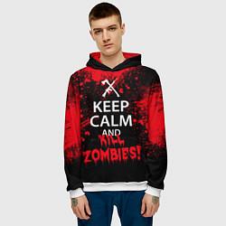 Толстовка-худи мужская Keep Calm & Kill Zombies цвета 3D-белый — фото 2