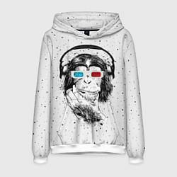 Толстовка-худи мужская Обезьяна в наушниках цвета 3D-белый — фото 1