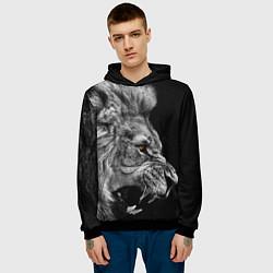 Толстовка-худи мужская Оскал льва цвета 3D-черный — фото 2