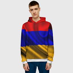 Толстовка-худи мужская Флаг Армения цвета 3D-белый — фото 2