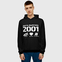 Толстовка-худи мужская Дата выпуска 2001 цвета 3D-черный — фото 2
