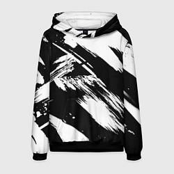 Толстовка-худи мужская Чёрно-белый цвета 3D-черный — фото 1