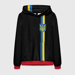 Толстовка-худи мужская Украина цвета 3D-красный — фото 1