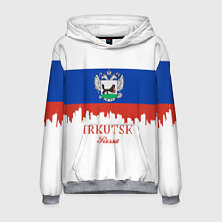Толстовка-худи мужская Irkutsk: Russia цвета 3D-меланж — фото 1