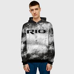 Толстовка-худи мужская KIA RIO цвета 3D-черный — фото 2
