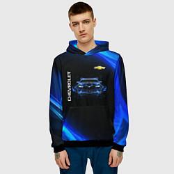 Толстовка-худи мужская Chevrolet цвета 3D-черный — фото 2