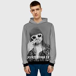 Толстовка-худи мужская Кобейн в очках цвета 3D-черный — фото 2