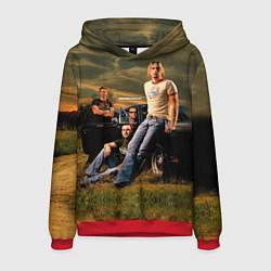 Толстовка-худи мужская Nickelback Group цвета 3D-красный — фото 1