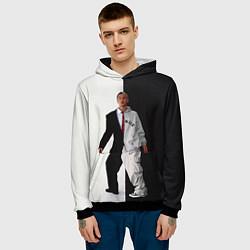Толстовка-худи мужская Eminem: Black & White цвета 3D-черный — фото 2