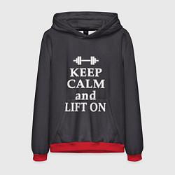 Толстовка-худи мужская Keep Calm & Lift On цвета 3D-красный — фото 1