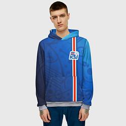 Толстовка-худи мужская Сборная Исландии по футболу цвета 3D-меланж — фото 2