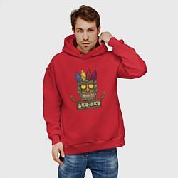 Толстовка оверсайз мужская Aku-Aku (Crash Bandicoot) цвета красный — фото 2