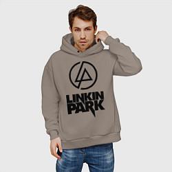 Толстовка оверсайз мужская Linkin Park цвета утренний латте — фото 2