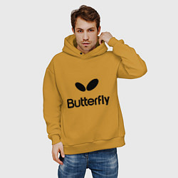 Толстовка оверсайз мужская Butterfly Logo цвета горчичный — фото 2