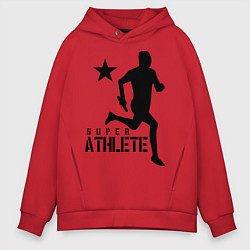 Толстовка оверсайз мужская Лёгкая атлетика цвета красный — фото 1