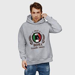 Толстовка оверсайз мужская AS Roma: Grande Amore цвета меланж — фото 2