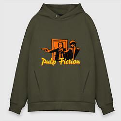 Толстовка оверсайз мужская Pulp Fiction цвета хаки — фото 1