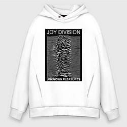 Толстовка оверсайз мужская Joy Division: Unknown Pleasures цвета белый — фото 1