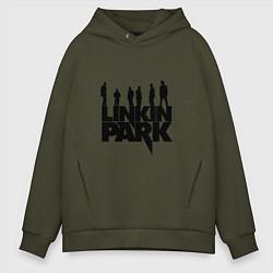 Толстовка оверсайз мужская Linkin Park цвета хаки — фото 1