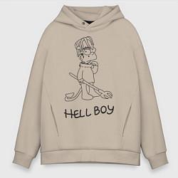 Толстовка оверсайз мужская Bart: Hell Boy цвета миндальный — фото 1