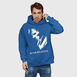 Толстовка оверсайз мужская Sherlock Face цвета синий — фото 2