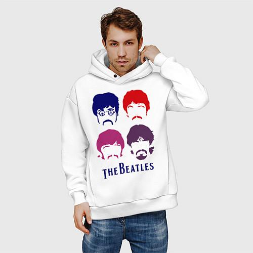 Мужское худи оверсайз The Beatles faces / Белый – фото 3