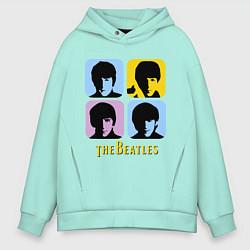 Толстовка оверсайз мужская The Beatles: pop-art цвета мятный — фото 1