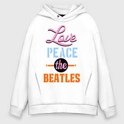 Толстовка оверсайз мужская Love peace the Beatles цвета белый — фото 1