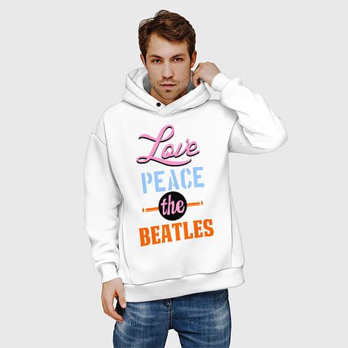 Мужское худи оверсайз Love peace the Beatles / Белый – фото 3