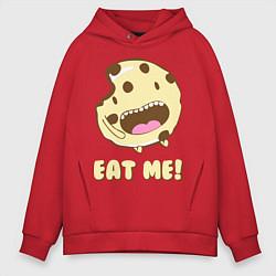 Толстовка оверсайз мужская Cake: Eat me! цвета красный — фото 1