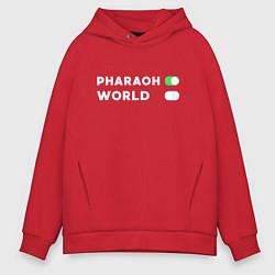 Толстовка оверсайз мужская Pharaon On, World Off цвета красный — фото 1