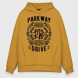 Толстовка оверсайз мужская Parkway Drive: Australia цвета горчичный — фото 1